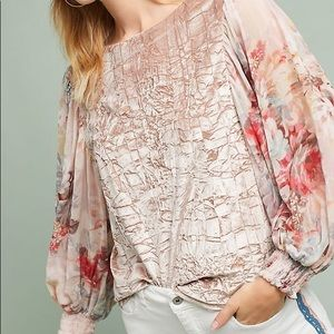 Anthropologie Meadow Rue Floral Sleeve Velvet Top